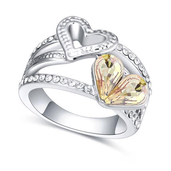 Immagine di Austrian Crystal Ring - Double Heart