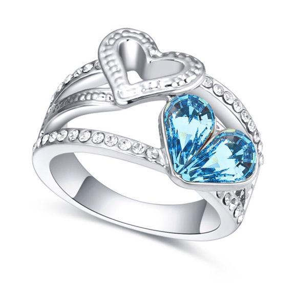Bild von Austrian Crystal Ring - Double Heart
