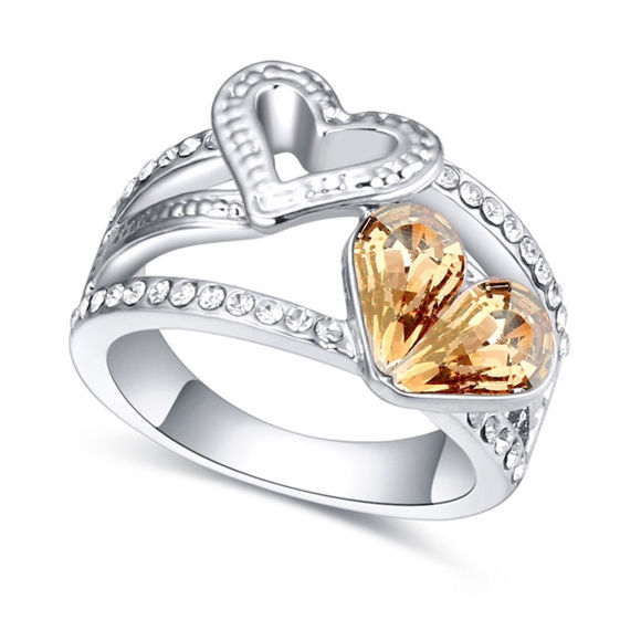 Imagen de Austrian Crystal Ring - Double Heart