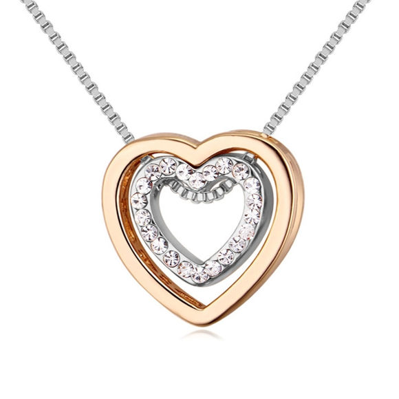 Imagen de Crystal Necklace - Heart In Heart