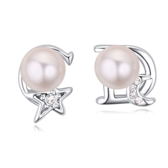 Image de Austrian Crystal Earrings - Star And Moon
