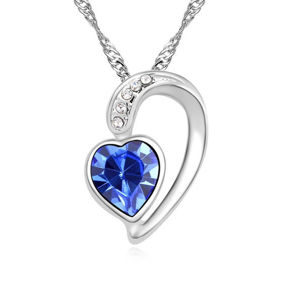 Picture of Austrian Crystal Necklace - Half Heart