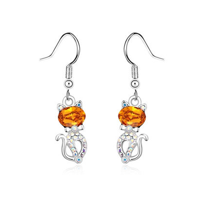 Immagine di Austrian Crystal Earrings - Cute Cat