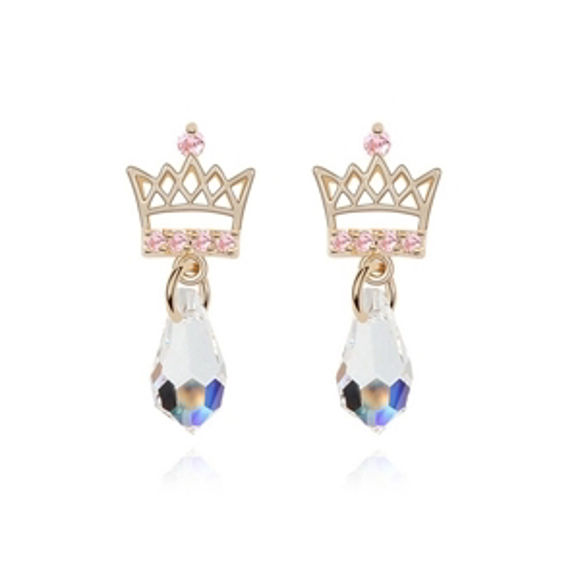 Picture of Austrian Crystal Earrings - Crown And Drops
