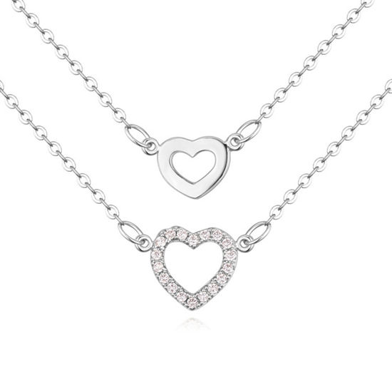 Imagen de Necklace Micro Pave CZ - Two Heart Of India