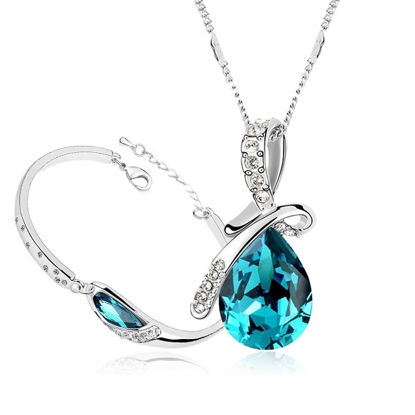 Picture of Blue Crystal Love Series Bracelet & Necklace