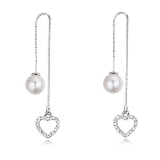 Imagen de Platinum Leaves Long Ear Line Pearl Earrings