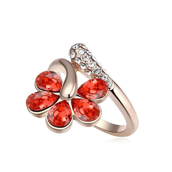 Imagen de Five Petals Flower Crystal Mosaic Rings