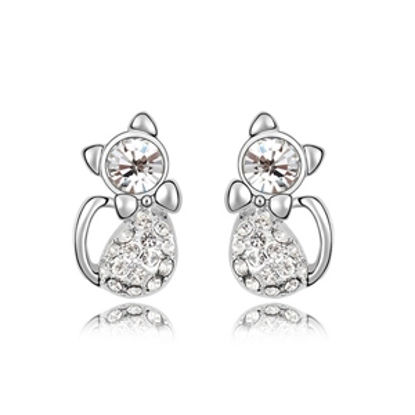 Immagine di Lovely Cats Plated Gold Crystal Earrigs