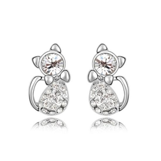 Imagen de Lovely Cats Plated Gold Crystal Earrigs