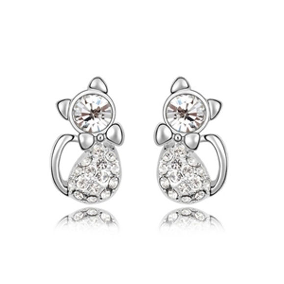 Imagen de Lovely Cats Plated Gold Crystal Earrigs