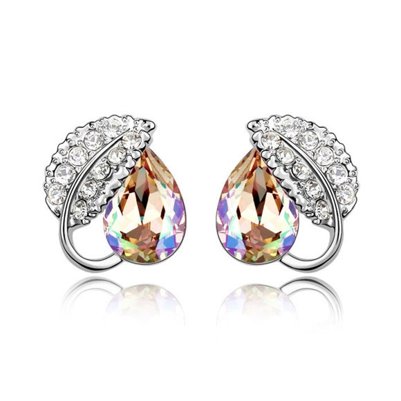 Picture of Love Leaf Swarovski Elements Crystal Earrings