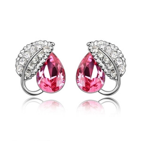 Immagine di Love Leaf Swarovski Elements Crystal Earrings