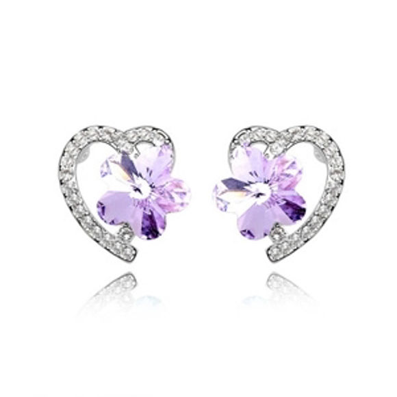 Imagen de Plum Blossom Swarovski Elements Crystal Earrings