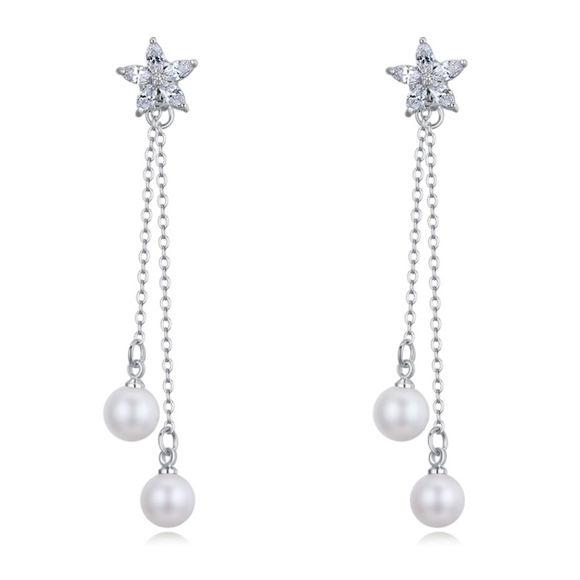 Picture of Flower Fairy S925 Silver Zircon Anti allergy Earrings