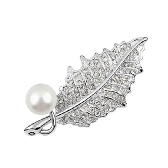 Bild von Leaf Swarovski Elements Pearl Brooch