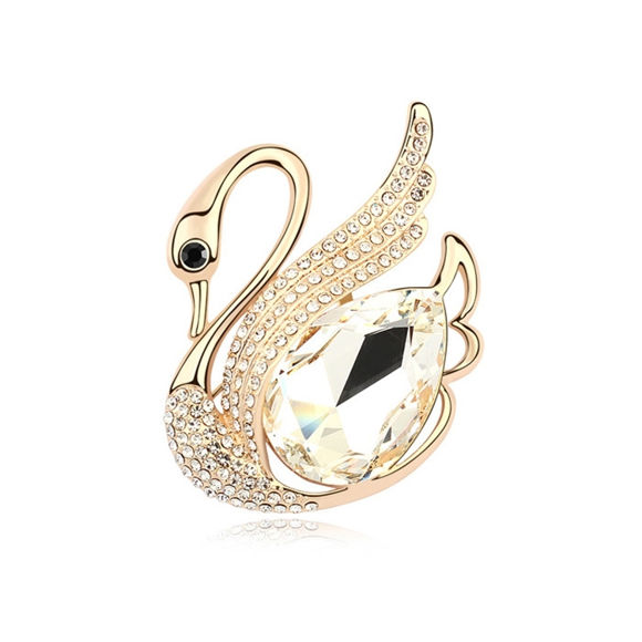 Immagine di Swan Plated Gold Crystal Brooch