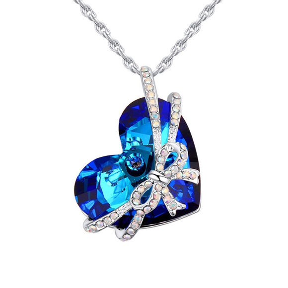 Picture of Bow Tie Heart Swarovski Elements Crystal Necklace