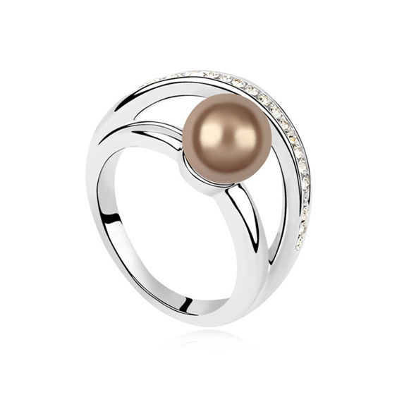 Image de Warm Swarovski Elements Pearl Ring
