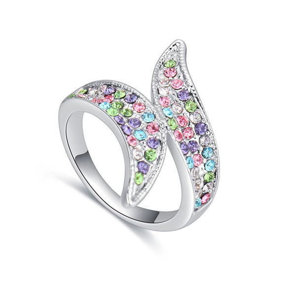 Immagine di Two Leaves Crystal Mosaic Ring