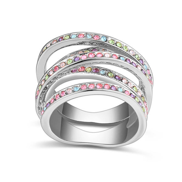 Picture of Interwined Crystal Mosaic Ring