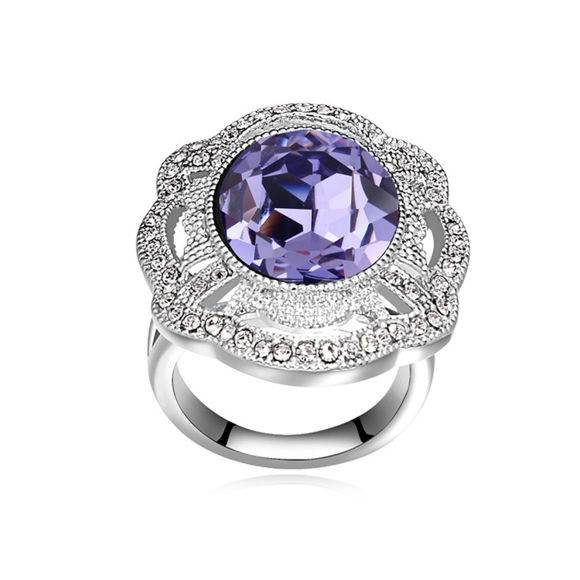 Picture of Big Flower  Crystal Mosaic Ring