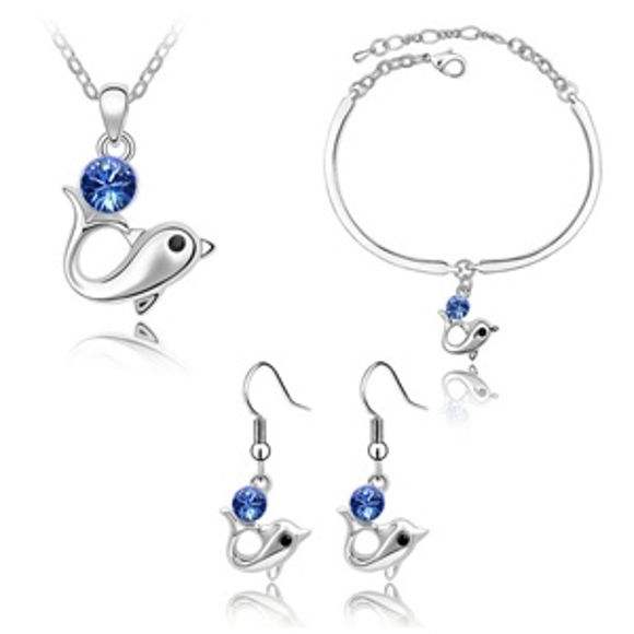 Imagen de Dolphin Swarovski Elements Crystal Package(Earrings & Necklace & Bracelet)