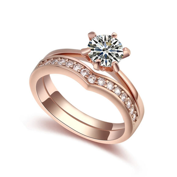Picture of Sweet Companions Micro zircon Lovers Rings