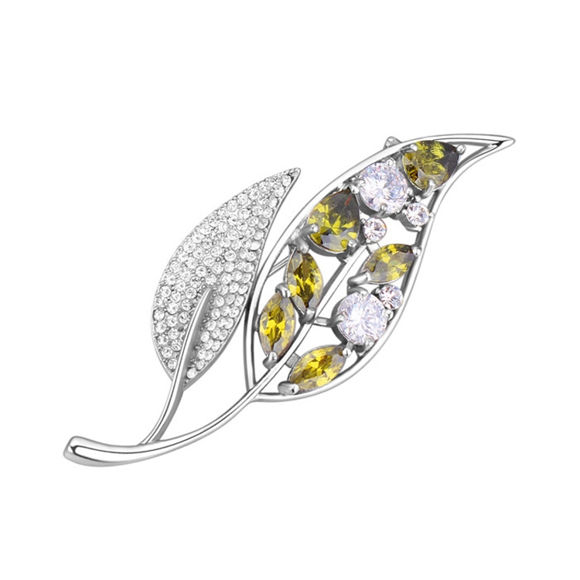Picture of Two Leaves Zircon Brooch