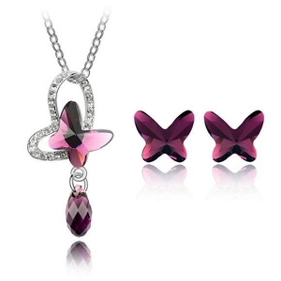 Imagen de Rain Butterfly Crystal Package(Necklace & Earrings)