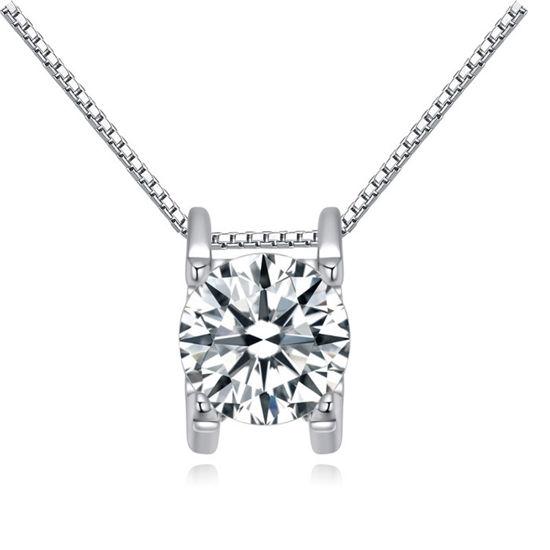 Imagen de Ripple Zircon Pendant S925 Silver Necklace