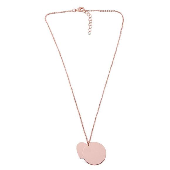 Imagen de Collar con nombre en forma de corazón y colgante redondo personalizado en plata de ley 925