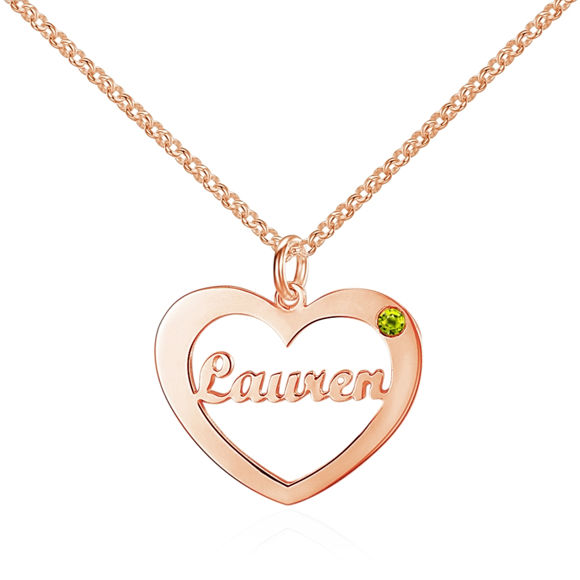 Picture of 925 Sterling Silver Heart Necklace with Customized Name