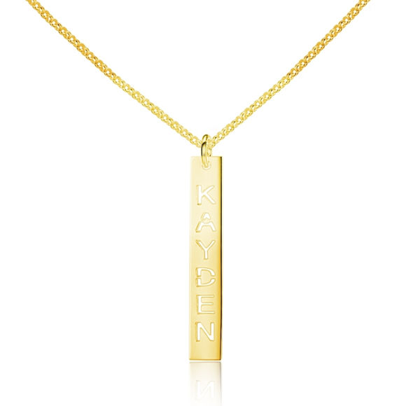Picture of Personalized Vertical Bar Name Necklace in 925 Sterling Silver