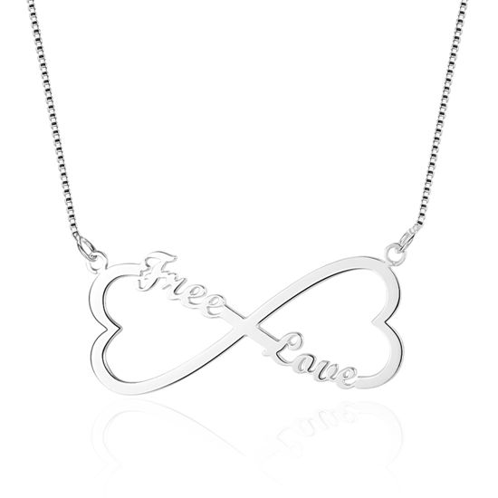 Imagen de Double Heart Shape Infinity Custom Name Necklace in 925 Sterling Silver