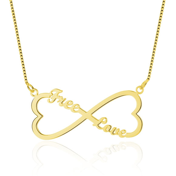 Imagen de Collar con nombre personalizado infinito en forma de corazón doble en plata de ley 925