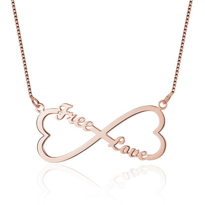 Picture of Double Heart Shape Infinity Custom Name Necklace in 925 Sterling Silver