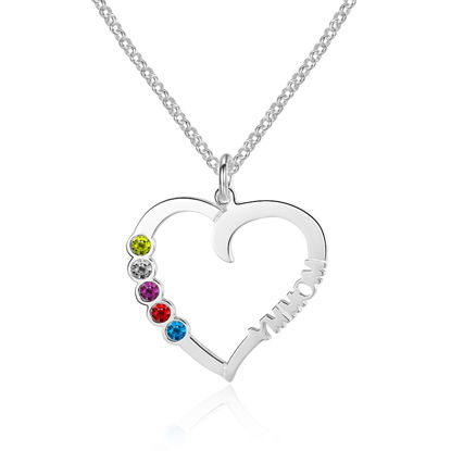 Immagine di Collana con nome personalizzato a forma di cuore colorato in argento sterling 925