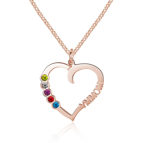 Picture of Colorful Heart-shaped Custom Name Necklace in 925 Sterling Silver
