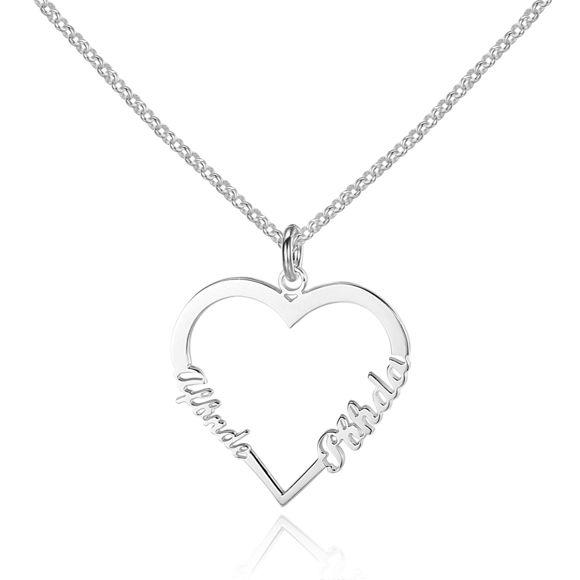 Bild von Herzförmige Custom Name Halskette aus 925er Sterling Silber