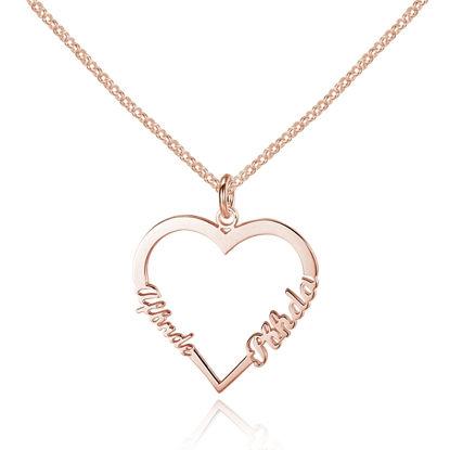 Image de Collier avec Nom Personnalisé en Forme de Coeur en Argent Sterling 925