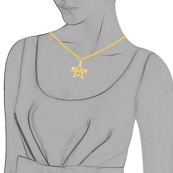 Image de Nom Personnalisé du Collier étoile en Argent Sterling 925