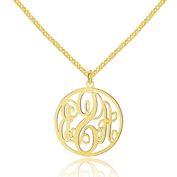 Bild von Personalisierte Monogramm-Halskette aus 925er Sterlingsilber in runder Form