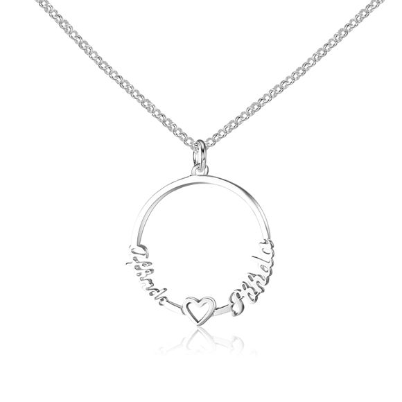 Picture of Round Pendant Custom Name Necklace in 925 Sterling Silver