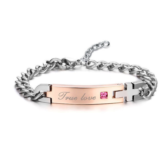 Imagen de Couple Exquisite Zircon Titanium Steel Bracelet