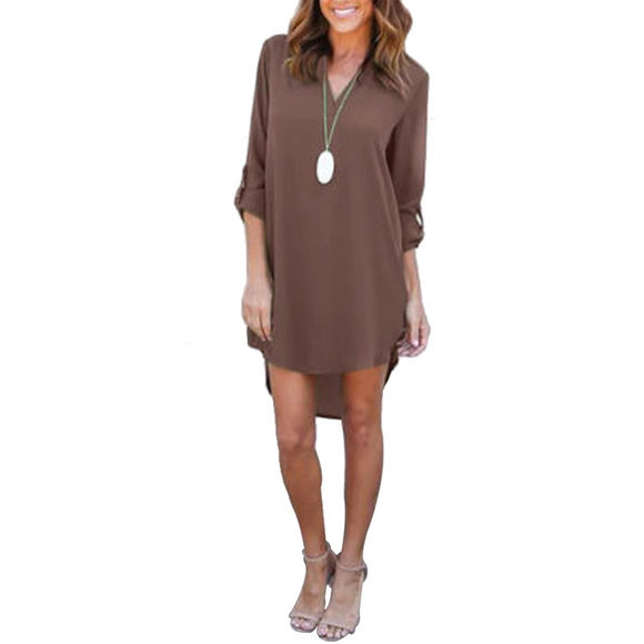 Bild von Justyling Autumn Long-Sleeve V-neck Stylish Chiffon Dress