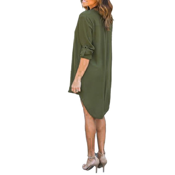 Immagine di Justyling Autumn Long-Sleeve V-neck Stylish Chiffon Dress