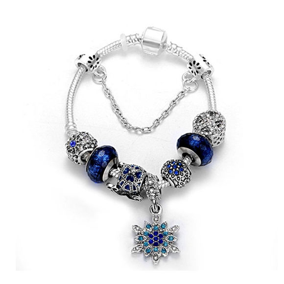 Picture of Anti-fatigue Blue Star Glass Beaded Bracelet With Snowflake Pendant
