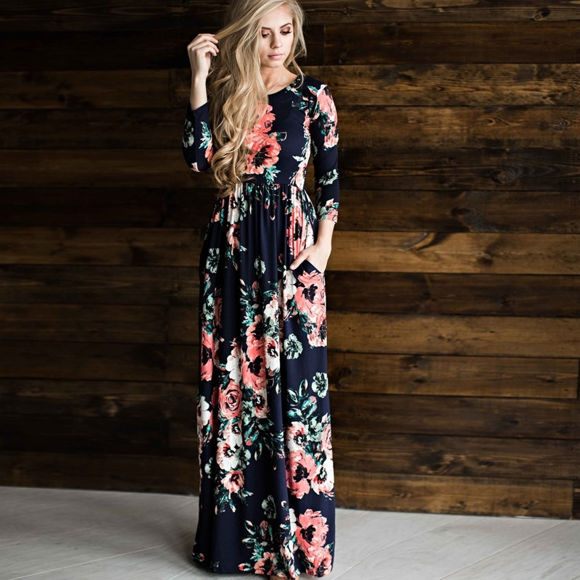Picture of Women's Long Sleeve Floral Maxi Dress With Pockets