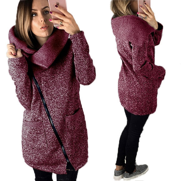 Imagen de Women's Fashion Slanted Zipper Jacket